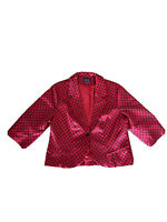 City Chic Size XS Women's Plus Size Red Polka Dot Cropped Collared Jacket