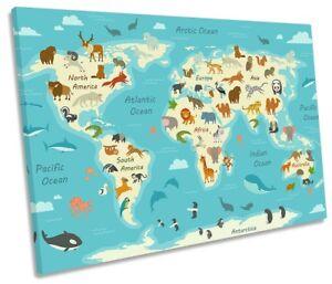 Map World Kids Room Nursery Framed SINGLE CANVAS PRINT Wall Art