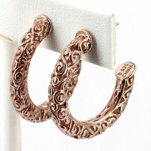 """Rose Gold Clad Sterling Filigree Scroll 1-1/8"""" Hoop Earrings 4mm Width"""