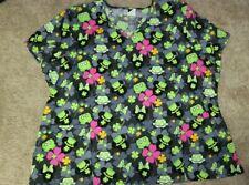 Disney Mickey Mouse Scrub Top Shirt 3Xl Women uniform Saint Patrick's Day Clover