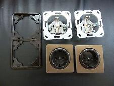 GIRA S-Comfort Steckdosen Braun/Bronze Kombination inkl. Rahmen Braun