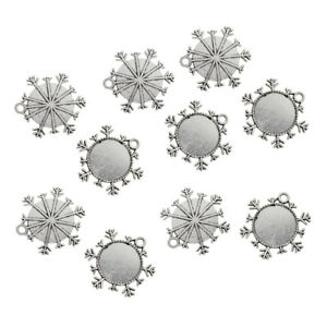 10 Antique Silver Snowflake Frame Round Pendant Blank Tray Cabochon Settings