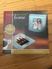 Original Sarah Peyton Home Glass Photo Coasters, Wooden Holder, NEW