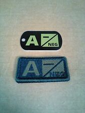 Tactical Blood Type Embroidered Velcor Patch & DOG TAG : A Negative  (A-)