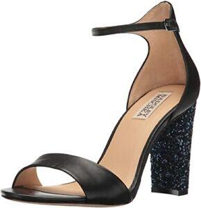 Badgley Mischka Black Gwen Blue Glitter Block Heel Sandal Size 8.5 NIB $198
