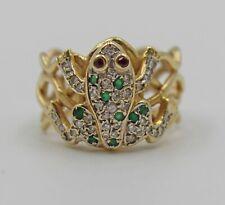 Vintage 14K Yellow Gold Frog Ring Diamond Emerald Ruby Sz 8