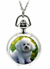 puppy dog mini necklace pendant pocket watch vintage style chain