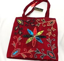 Woman Brocade handbag Burgundy Classic Silk Tote Oriental Woman Fashion