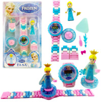 Building Blocks Disney Elsa Frozen LEGO KIDS Digital Watch Princess figure Pink