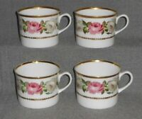 1969 Set (4) Royal Worcester ROYAL GARDEN PATTERN Handled Cups MADE IN ENGLAND