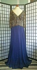 Midnight Blue Dress With Gold and Black Beaded Lace By eDressit With 3/4 Sleeves
