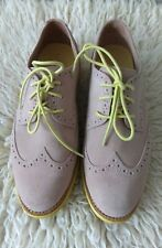 Cole Haan Lunarlon Oxford Suede Shoes, Beige with Neon Green Sole. 8C