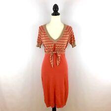DIANE VON FURSTENBERG women's S sweater dress - orange stripe sheath knit small