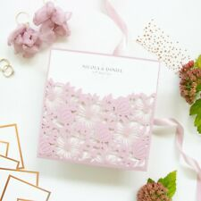 HANDMADE AFFORDABLE ELEGANT LASER CUT WEDDING INVITATIONS PINK FREE SHIPPING