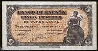 5  Pesetas 1937 Burgos @@ EXCELENTE @ E.B.C. @