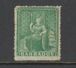 Barbados Sc 15, SG 21 MNG. 1861 ½p green Britannia, perf 14x16, fresh, F-VF.