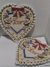 Fitz & Floyd Omnibus Love Plates Valentines 3D Heart Plate 1996 lot of 2