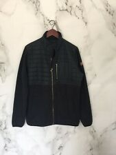 Quicksilver Mens Sweater Size M Gray Wool Full Zip Blue Nylon Quilted Upper