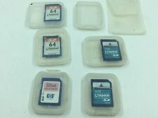 Lot of 5 Kingston & HP Memory Cards, 1 GB, 64 MB and 32 MB w/ 2 Empty Card Case