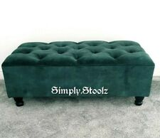Emerld Green Large Ottoman Chesterfield Footstool Soft Velvet(non Storage)