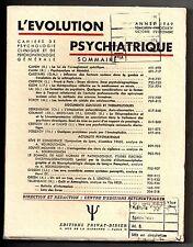 L'EVOLUTION PSYCHIATRIQUE 1969 n°4 HENRI EY PSYCHOLOGIE PSYCHANALYSE FREUD