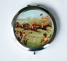 Victorian Horse Race Compact Mirror Pocket MIRROR vintage illustraion hipster