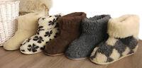 New Women's Men's 100% Sheep  Wool Boot-Style Snug Sheepskin Slippers hard sole