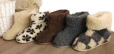Ladies Men's 100% Sheep Wool Boot-Style Cozy Sheepskin Slippers hard sole box