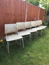 RETRO VINTAGE STACKING CHAIRS TUBULAR STEEL FRAME  PADDED SEATS SET OF 6