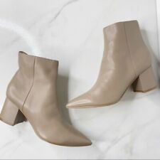 Marc Fisher Nude Neutral Leather Pointy Toe Boots Ankle Booties Block Heel 5.5