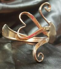 sterling Silver plate Fork Bracelet bangle Handmade vtg heart spoon cuff