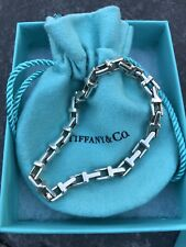 "TIFFANY & CO T Sterling Silver Narrow Links Chain Bracelet Classic 7"" Long"
