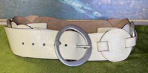 JAG Retro large genuine ivory leather silver hoop wide Hip Waist Belt S/M