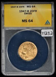 1947-B 20 Francs Switzerland Gold Coin - ANACS MS 64 - SKU-Y1232