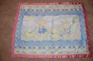 Handmade  Snuggle Flannel Reversible Silky  Baby Blankets PINK Bunny Bear