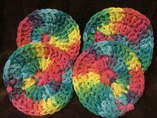 4 Crochet Face Scrubbies. 100 % Cotton FREE P&P (psyc)