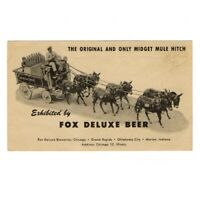 Fox Deluxe Beer Advertising Postcard Midget Mule Hitch Chicago Mid-20th Century