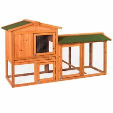 Pet Rabbit Hutch 2 Tier Wooden Guinea Pig Animal Garden Brown Double Cage House