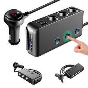3 Way Multi Car Cigarette Splitter Lighter Socket 4 USB Plug Charger Adapter UK
