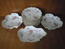 Limoges 14 Piece Dessert Service Plates & Serving Bowls / Dishes - Pink Flowers