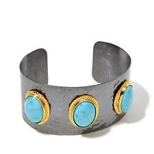 JEWELS OF ISTANBUL KINGMAN TURQUOISE GOLD-PLATED STERLING SILVER CUFF BRACELET
