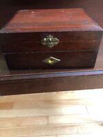 Rare antique 19th century community flatware silverware wooden box case