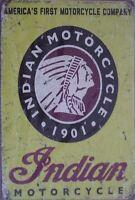 INDIAN MOTORCYCLES Rustic Metal Sign Vintage Tin Shed Garage Bar Man Cave Wall