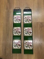 J DAY  Fireplace Tiles (set 10) - Pink Tree Lily Floral With Green Spacers NOS