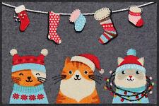 Salonloewe Fußmatte Wintercats 50 X 75 Cm Waschbar Schmutzmatte lustige Katzen