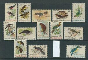 NORFOLK ISLANDS 1970-71 BIRDS long set (Scott 126-140 short 139) VF MNH