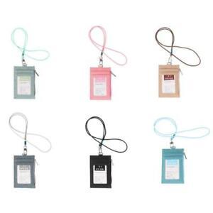 Business Card Holder Wallet with Cotton Linen Lanyard ID Badge Zipper Wallet Bag