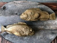 Artisanal Original Bass Casting Ceramic Gold Gilt Fish Mounted on Reclaimed Wood