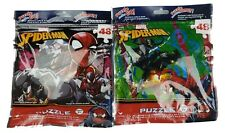 """Lot of 2 New Marvel Spiderman 48 Piece Puzzles Resealable Bags 9""""x10"""""""