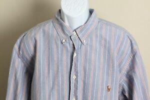 Ralph Lauren Men's blue, pink and green striped long sleeve shirt 2XB Big 2XL